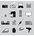 home electrical appliances stickers set eps10 vector image