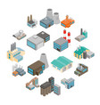 industrial building factory icons vector image