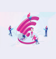 isometric people and wifi sign vector image vector image