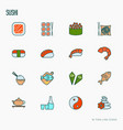 japanese food thin line icons set vector image