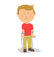 little boy standing with crutches vector image vector image