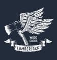 lumberjack ax flying axe with wings axeman print vector image vector image