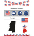 map of mississippi set of flat design icons vector image vector image
