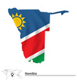 Map of Namibia with flag vector image vector image