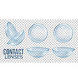 medical glass contact optical lenses set vector image vector image