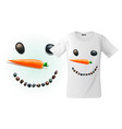 modern t-shirt print design with funny snowman vector image