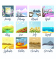 nature landscapes four seasons months calendar vector image vector image