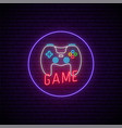 neon game signboard glowing gamepad icon vector image vector image