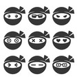 ninja face icons set vector image vector image