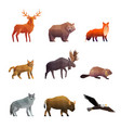 northern wild animals polygonal icons set vector image vector image
