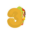 number 3 tacos mexican fast food font three taco vector image vector image
