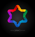 Origami rainbow Star of David on black background vector image vector image