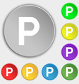 parking icon sign Symbol on five flat buttons vector image