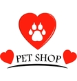 pet shop icon with hearts vector image vector image