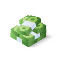 pile cash stack dollars isometric vector image