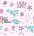 sea pattern mermaid underwater tropical ocean vector image vector image