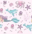 sea pattern mermaid underwater tropical ocean vector image