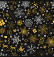 seamless pattern of snowflakes and christmas vector image