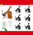 shadows activity game with safari animals vector image vector image