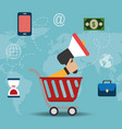 shopping cart with electronic commerce icons vector image vector image