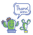 thank you card with cute cactuses succulent and vector image vector image