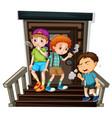 three boys smoking cigarette on stairs vector image