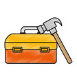 tool box with hammer vector image vector image