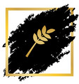 tree branch sign golden icon at black vector image vector image
