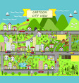 urban landscape with houses sea roads trees vector image