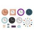 wall clock set in flat design vector image vector image