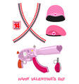 Weapons Cupid Set Military love accessories vector image vector image