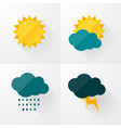 weather icons with long shadows vector image