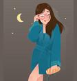 woman in green nightwear eating bread vector image vector image