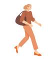 young woman walking vector image vector image