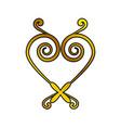 heart decoration ornament golden vector image