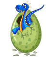 blue dragon comes out of egg vector image vector image