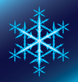 blue six-pointed snowflake on a blue background vector image vector image