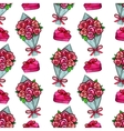 Bouquet and gift box seamless pattern vector image vector image