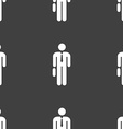 Businessman Icon sign Seamless pattern on a gray vector image