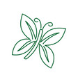 butterfly line leaf logo design isolated vector image vector image