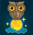 cartoon cute owl sitting on a moon vector image