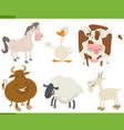 cartoon farm animals collection vector image vector image