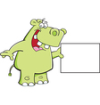 Cartoon Hippo with a Sign vector image vector image