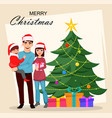 christmas postcard with happy family vector image