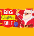 christmas sale banner with classic xmas santa vector image