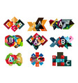 collection paper geometric infographics a b c vector image vector image