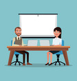 color background couple executives people sitting vector image