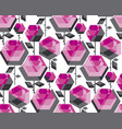 concept hexagon rose flower vector image vector image