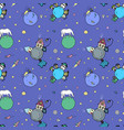 cozy cosmic background with cute planets kids vector image