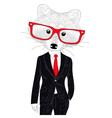 cute cheerful fashion raccoon in suit Hand drawn vector image vector image